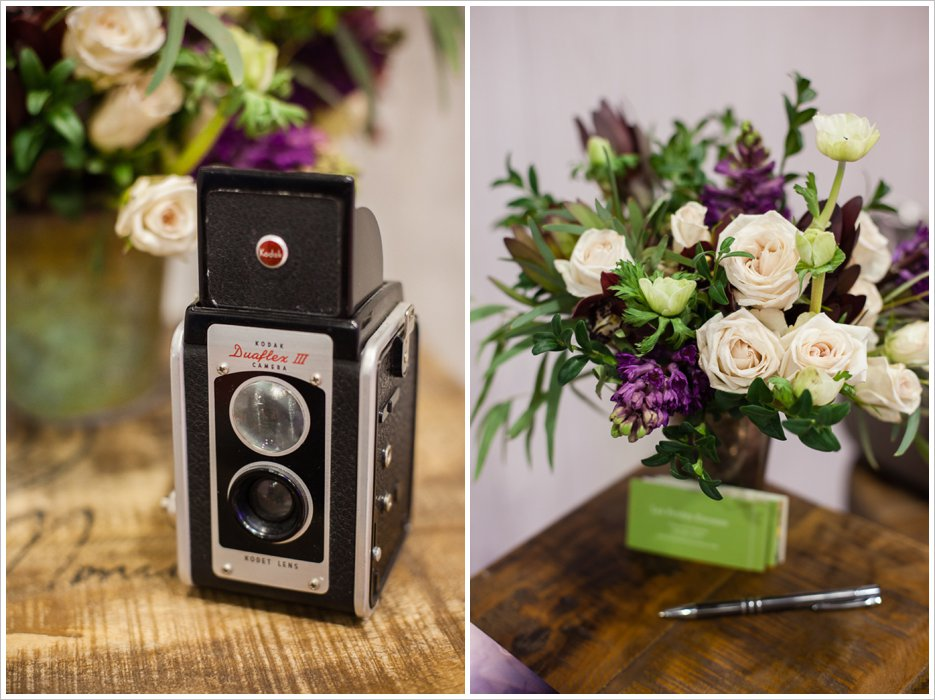 camera vintage - photographer booth bridal show - flowers